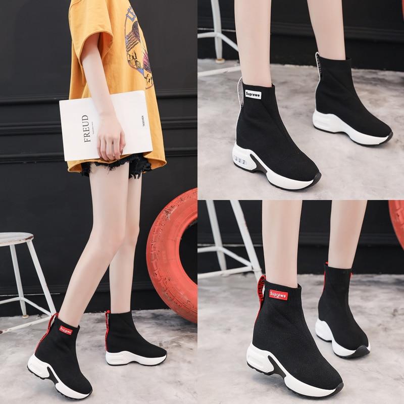 2019 Cm Zapatos Otoño Casuales Mujer Botas Zapatillas Calcetines Plataforma 9 Cuñas Nieve Invierno Gruesa De Nuevo White Tobillo black Suela Alto Tacón rwTrfq