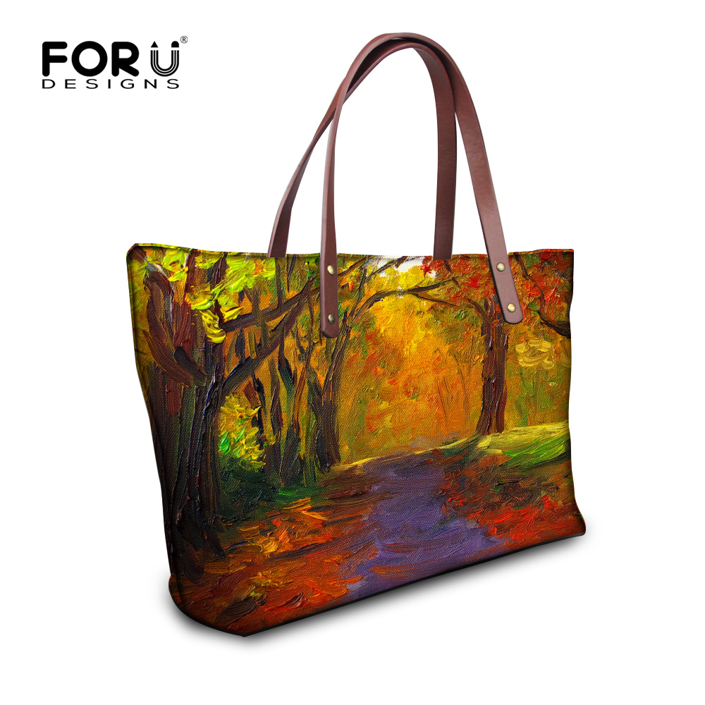 цена  Vintage Women Large Handbag Oil Painting Printing Top-handle Bag For Ladies Portable Travel Tote Purse Casual Bolsa Femininas  онлайн в 2017 году