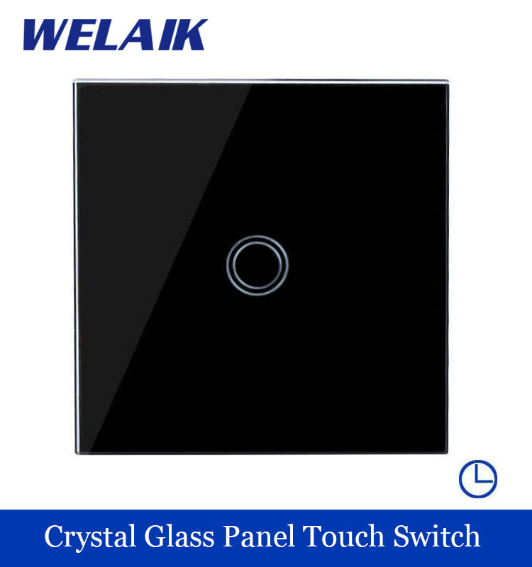 WELAIK Crystal Glass Panel Switch black Wall Switch EU Time Touch Switch Screen Light Switch 1gang1way AC110~250V A1911DSXB smart home us au wall touch switch white crystal glass panel 1 gang 1 way power light wall touch switch used for led waterproof
