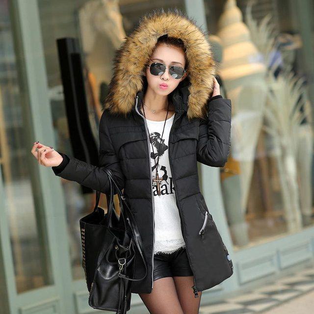 bfff8b98b Invierno mujeres abajo y abrigos esquimales para mujeres largo invierno  cuello de pelo parka abrigo de