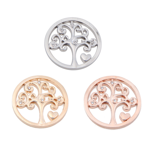 Somsoar Jewelry Newest Heart Tree Of Life 33mm Disc Coin Fit My Coin
