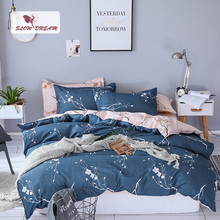 SlowDream Printing Polyester Duvet Cover Set Bedding Linen Nordic Decor Bed Flat Sheet Pillowcae Bedspread Home Textiles