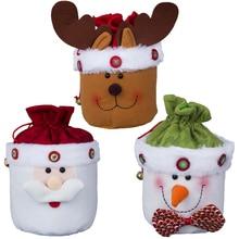 Фотография Christmas Merry Drawstring Gift Bag 3 Styles Santa Claus Candy Bag Elk Ornament Presents Bag Snowman Xmas Decoration