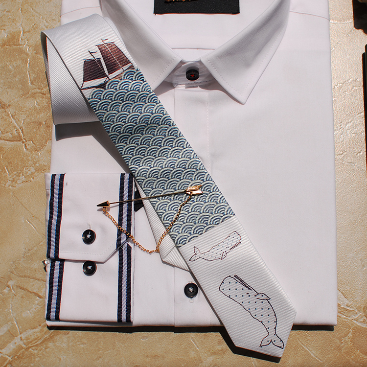 Merlin Fashion Thin Tie Marine Shark Series Dress Casual Groom Gift Wedding Party Party Tie
