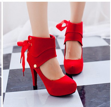 Spring autumn women's shoes fashion woman's high heels sandals single thick heel platform red black - Love beautiful club store