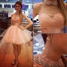 Schöne Perlen Cocktailkleid Peterpan Kragen Rosa Mini Kleid Schatz Ballkleid Tutu Rock Prinzessin Kurze Vestido De Noive
