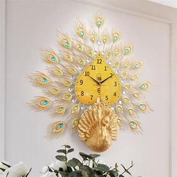 Double Peacock Wall Clock Modern Design Home Decor Art Wall Watch Living Room Silent Clock Wall Metal Digital Clocks R1486
