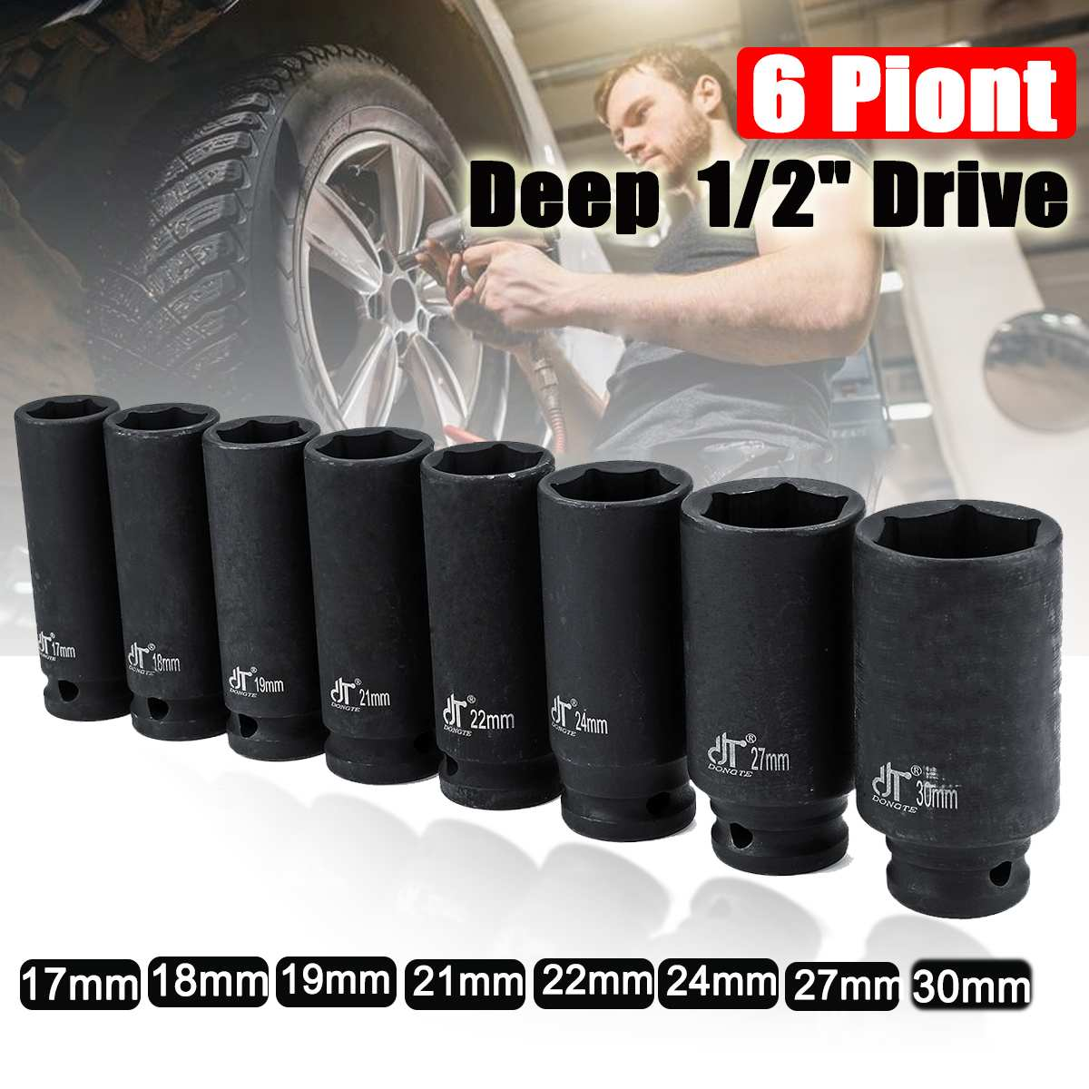 1/2 Inch Car Drive Deep Impact Sockets Metric Air Pneumatic Socket Wrench Head 17-30mm Standard Durable Auto Truck Repair Tools