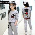 New 2017 Spring Kids Girls Clothes Children Clothing Set Cartoon Sweatshirt + Pants Two-Piece Sport Suits 3 Colors,Age 3-15T