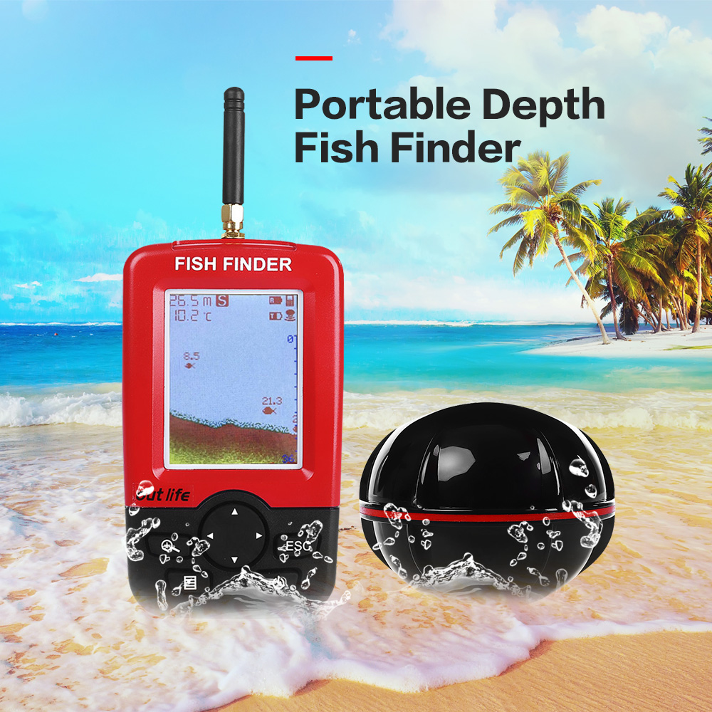 Outlife Smart Portatile Fish Finder di Profondità con 100 M Wireless Sonar Sensor Ecoscandaglio Fishfinder per il Lago di Pesca in Mare Acqua Salata