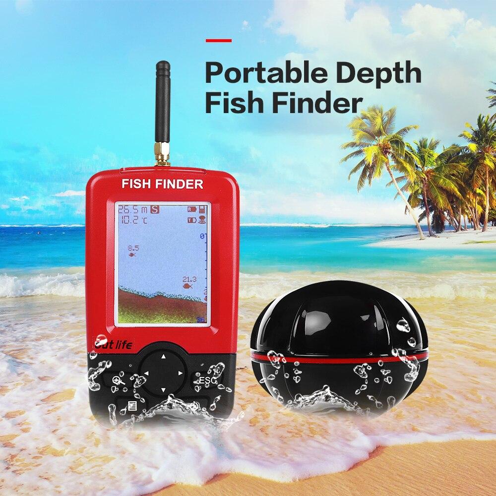 Outlife Smart Portatile Fish Finder di Profondità con 100 m Wireless Sonar Sensor Ecoscandaglio Fishfinder per il Lago di Pesca in Mare Acqua Salata