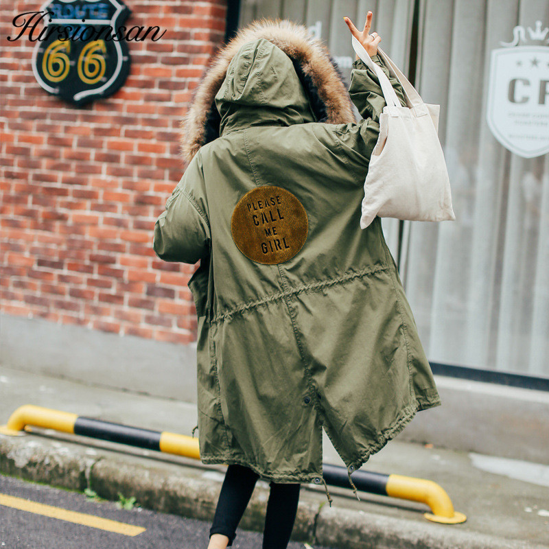 Hirsionsan 2017 Winter Parkas Women Large Fur Collar Hooded Coat Thicken Warm Cotton-padded Jackets Army Green Military Parka army green winter thick military coat army green female hooded jacket parkas outerwear fur collar women coat