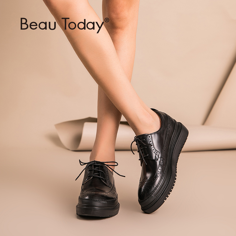 1134668c08a39 BeauToday Brogue Shoes Women Flat Platform Top Quality Genuine Cow Leather  Round Toe Lace-Up