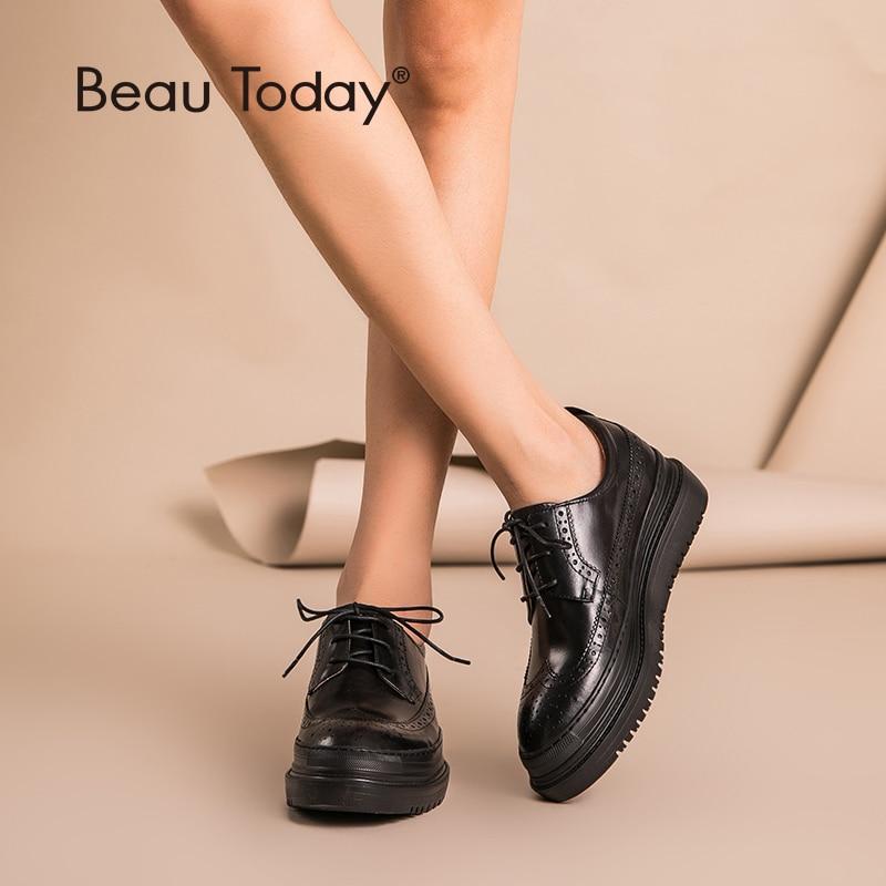 Beautoday brogue 신발 여성 플랫 플랫폼 최고 품질 정품 암소 가죽 라운드 발가락 레이스 업 레이디 신발 수제 21403-에서여성용 플랫부터 신발 의  그룹 1
