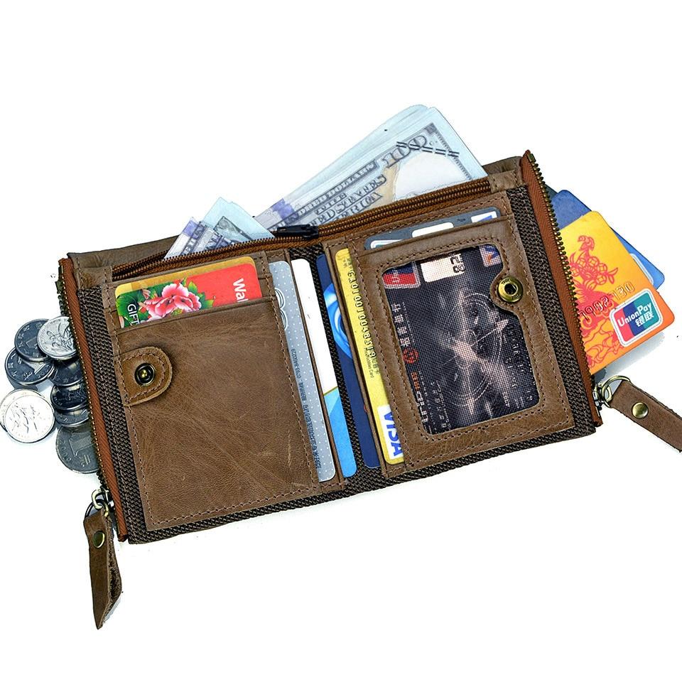 Men's Genuine Leather Wallets Male Double Zipper Coin Purse Men Bifold Slim Lether Coin Pocket  Wallet Purse
