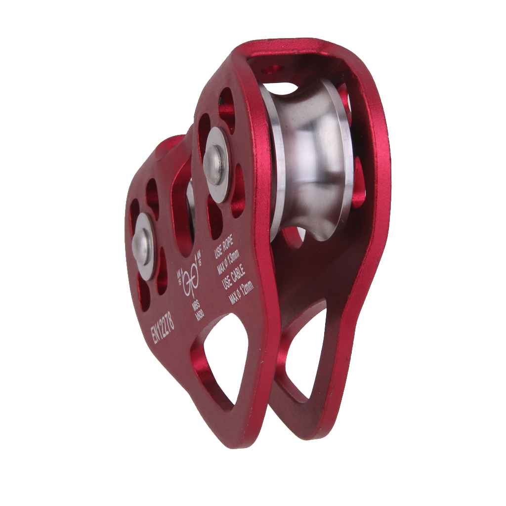 Hot Wine Red Double Trolley Pulley Rope 13mm 30KN Mountaineering Outdoor Camping Hiking Travel Accessory Rock Climbing Equipment