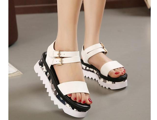 2777890d07f Chunky Wedges Platform Thick Sole Sandals White Black Strappy Wedges Sandals  Women Shoes Trendy Women Wedge Shoes Strap Sandals