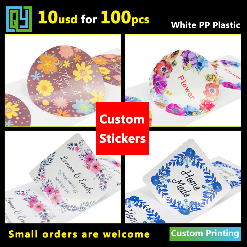 100pcs 35mm Vinyl Stickers Self Adhesive Labels Stationery Handmade Custom Printing Wedding Gift Cosmetics Seal Label Sticker