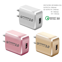 Quick Charge 3.0 US Plug 1M 3A 3 in1 Fast 3a usb cable for iphone Xiaom Redmi Mobile Phone adapter Samsung S9 S10