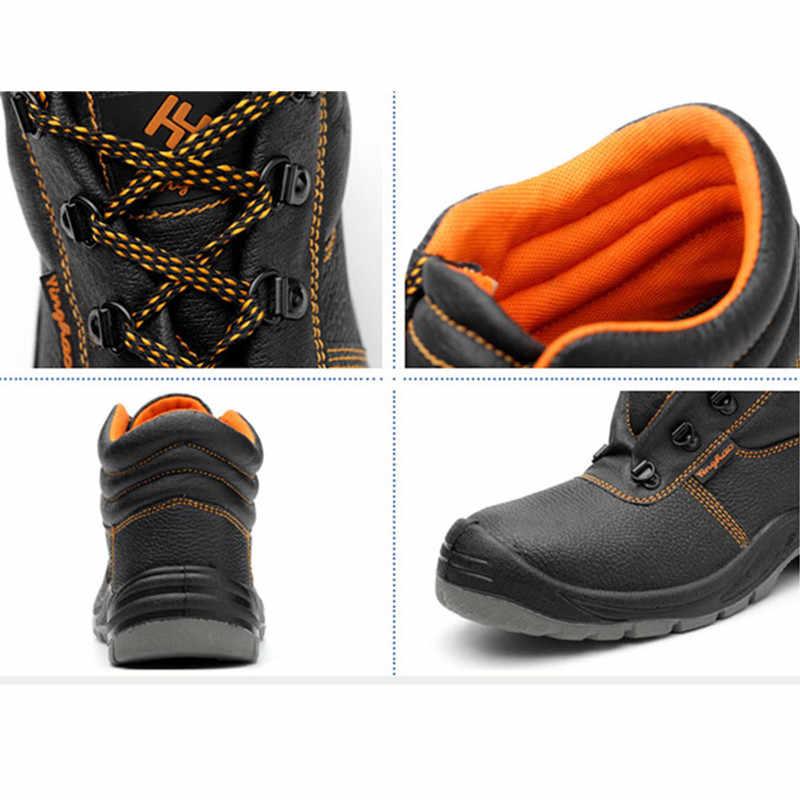 Homens militar do exército bota de couro genuíno vintage rendas até sapatos de segurança à prova dwaterproof água preto deserto combate tactical ankle boots men