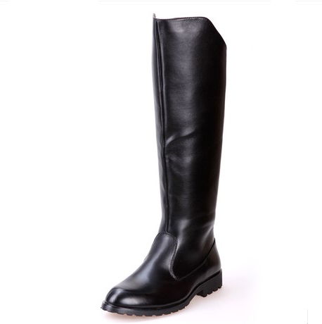 Solid High Boots Mens Black Military Boots Natural Cow Leather Men Long Waterproof Snowb ...