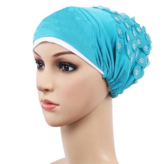 921d739fd2cc2 Sequined Appliques New Women Hat Fashion Womens Muslim Stretch Turban Hat  Chemo Cap Hair Loss Head Scarf Wrap Hijib Cap