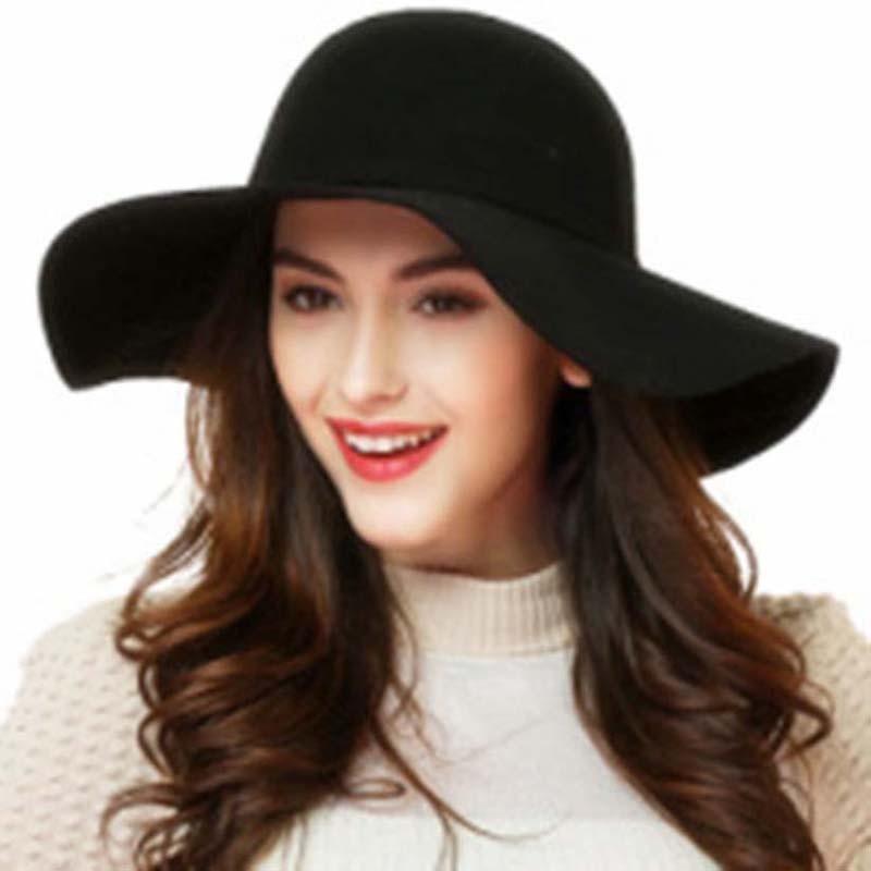 4b9bfb5f20f3a Moda Vintage sombreros de Ala Bowler Jazz Sombreros para Las Mujeres 2017  del Algodón Tapa superior de Fieltro de Ala Ancha Floppy Sun Beach Cap  Iglesia ...