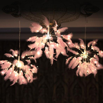 Hanging String Light DIY feather firework Fairy Garland christmas Wedding lights outdoor Twinkle Lights Usb Remote Control 200 leds festival hanging starburst string lights diy firework copper fairy garland christmas lights outdoor twinkle light