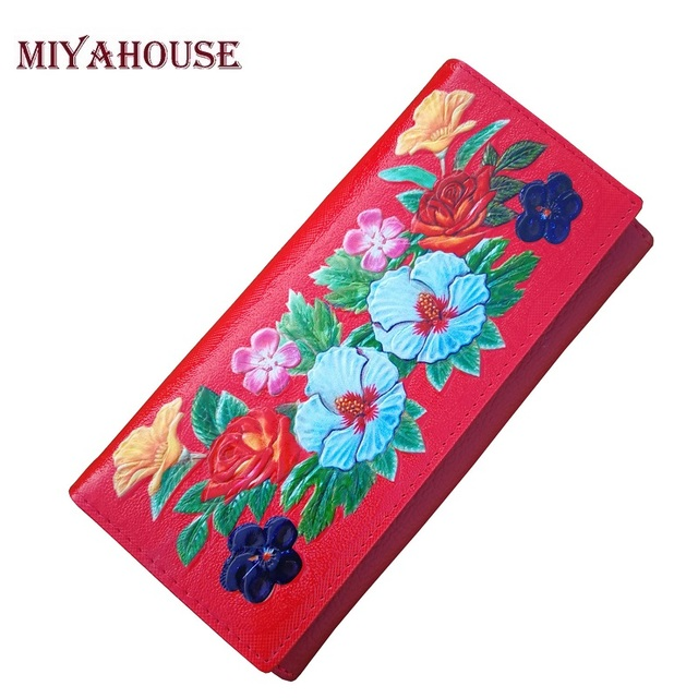 miyahouse floral printing wallets women flowers long wallet genuine