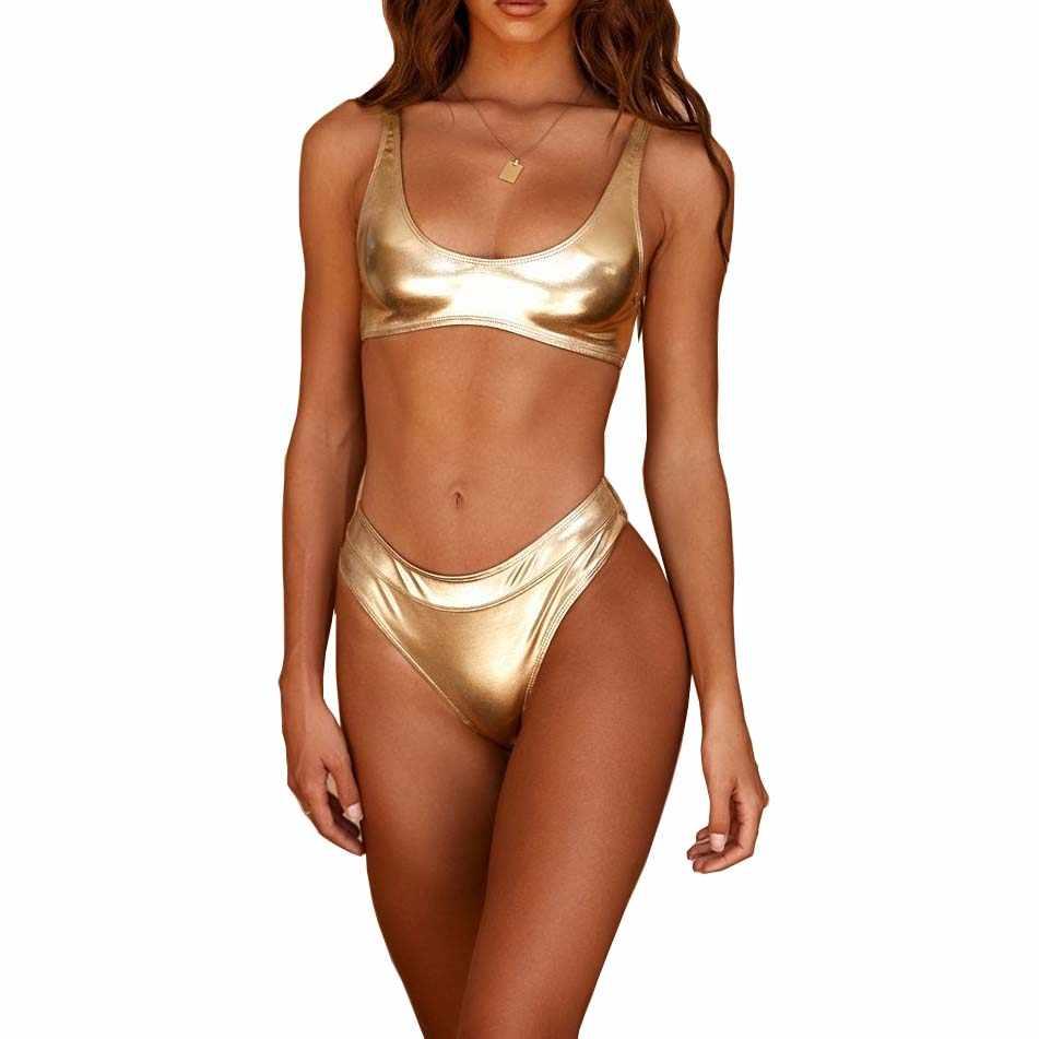 Or argent brillant en cuir Bikini maillot de bain deux pièces costume haut court pour femmes femme Bandage Micro Bikinis Biquini ensemble maillot de bain