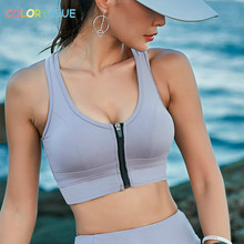 Colorvalue Sexy Front Zipper Yoga font b Fitness b font Bras Top Women Push Up Padded