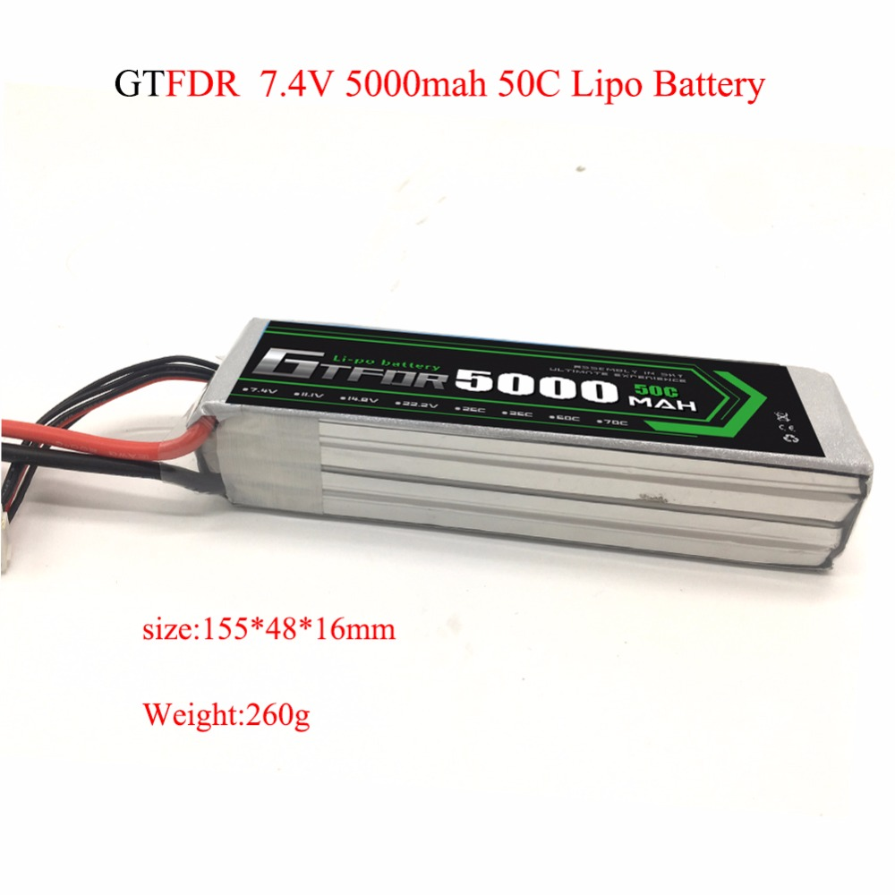 GTFDR RC Lipo 2S Battery 7.4V 5000mah 50C Max 100C For RC Bateria Drone AKKU Helicopter Car Truck Car Quadcopter FPV UAV 2018 new arrived lipo battery 2s 7 4v 1200mah 20c max 50c with tamiya connector akku for mini airsoft gun battery rc model