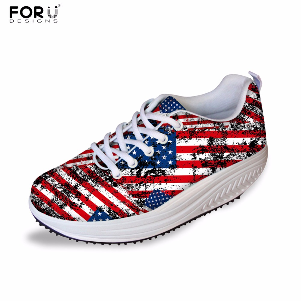 FORUDESIGNS 3D UK USA Flags Pattern Women Casual Swing Shoes Flats Platform Female Height Increasing Shoes Shape Ups Ladies forudesigns fashion women casual slimming swing shoes graffiti pattern wedge platform shoes for female lady lace up shape ups