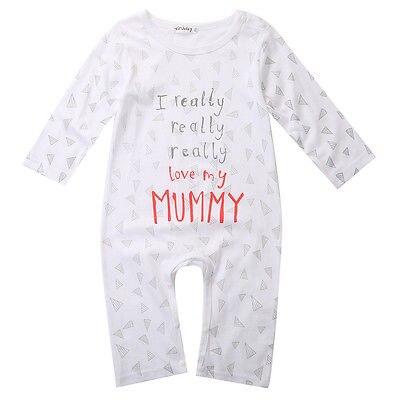I Love Mom//Dad Organic Baby Boy Girl Grow Long Sleeve Bodysuit Jumpsuit  CWY