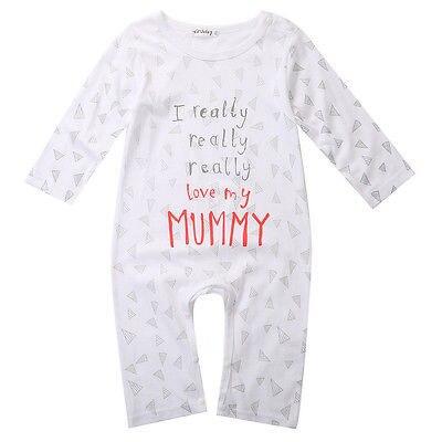 e8669b3ae I Love Mom Dad Organic Baby Boy Girl Grow Long Sleeve Bodysuit Jumpsuit