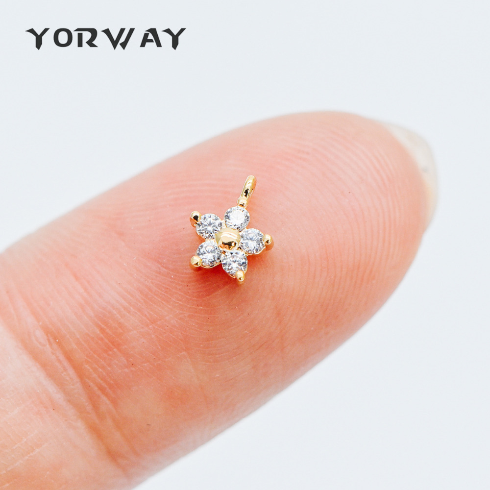 10pcs CZ Paved Gold Flower Charm Pendants 6.5mm, Real Gold Plated Brass, Tarnish Resistant (GB-371)