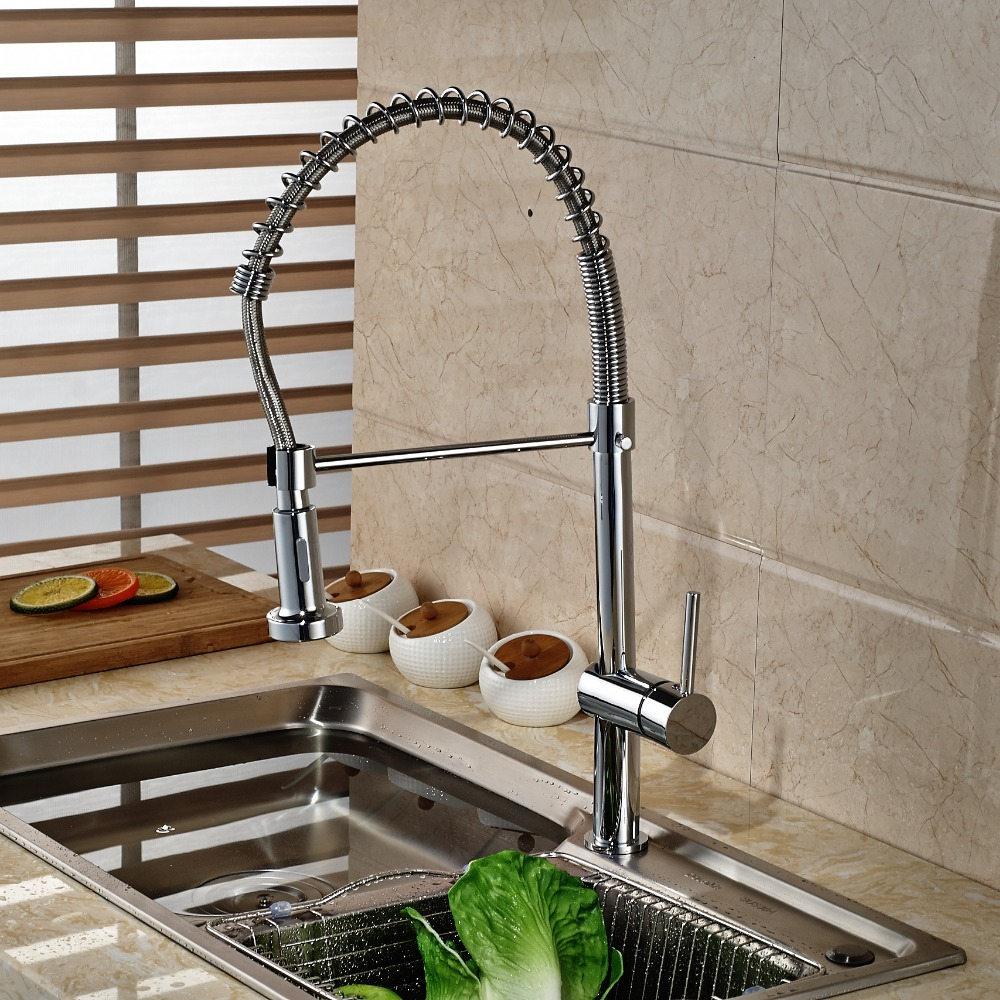 popular tall kitchen faucets buy cheap tall kitchen faucets lots deck mounted tall chrome kitchen faucet swivel spout brass vessel sink mixer tap single handle hole