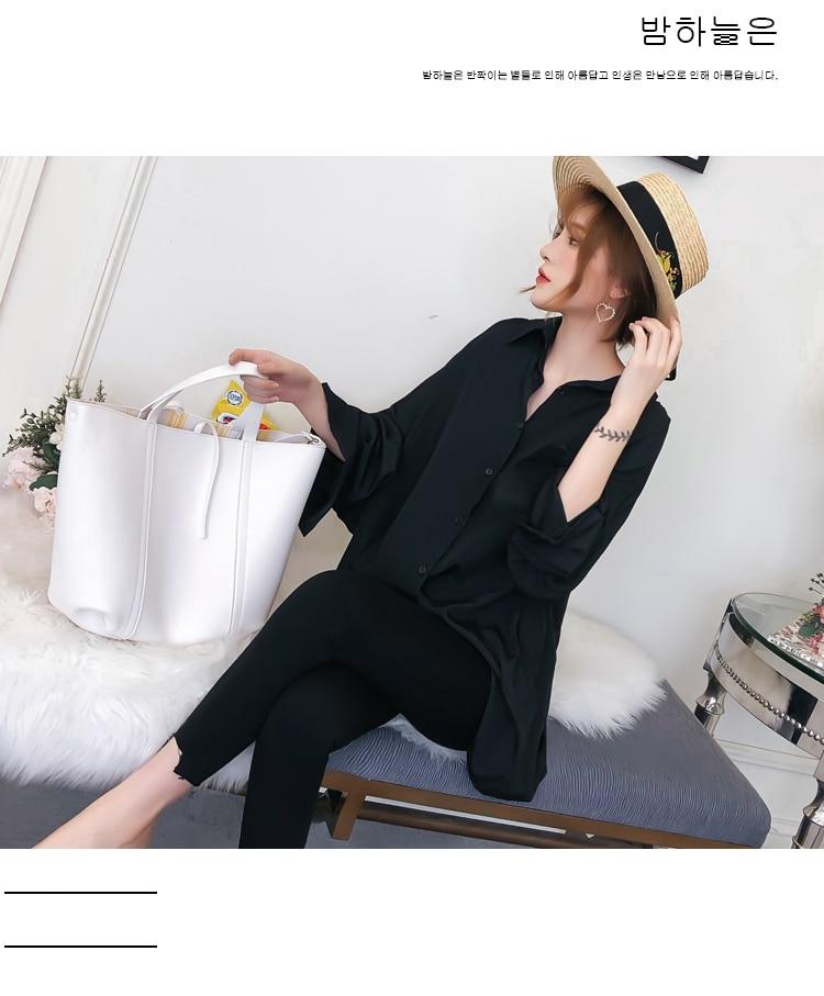 Women Oversized Shirts Black Top Boy Friend Style Shirt Woman Leisure Blouse Back Crochet Tops Loose Fitting Turn Down Collar Shirt (12)