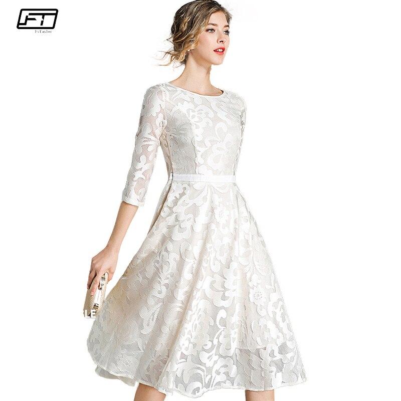 Fitaylor nuevo bordado Floral Crochet vestido de encaje mujeres primavera  otoño Casual Vestidos de fiesta más 81e5d121a8f6