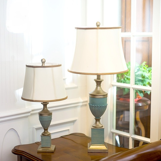 European Clical Table Lamps Blue Warm Study Room Living Bedroom Bedside Lighting Lights Resin