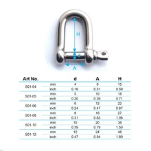 4mm D shackle with screw pin stainless steel 316 dee shackle AISI 316 A4 marine hardware boat hardware rigging hardware