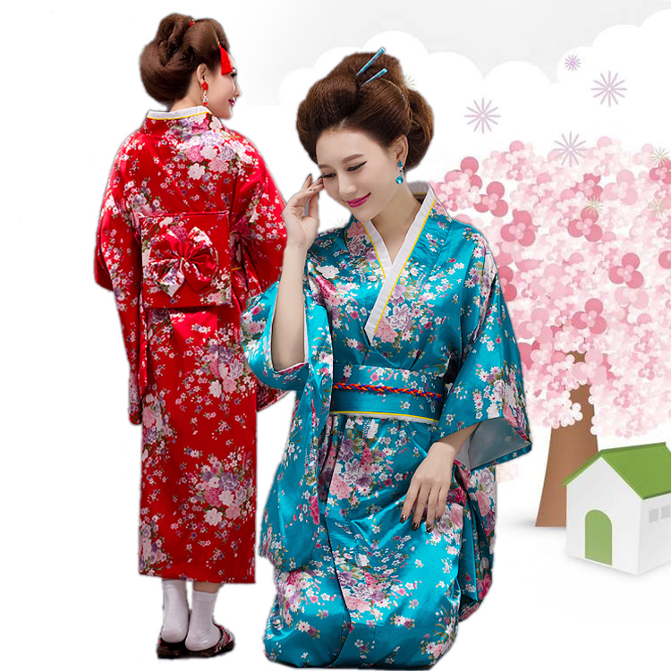 Vintage Japanese Geisha Kimono Yukata Haori Costume Retro Women Dress Obi