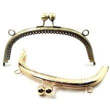 5Pcs Flower Convex Double Ball Heads Arch Metal Frame Kiss Clasp Lock Clutch Coins Purse Handbag Bag Handle Part 16.5cm