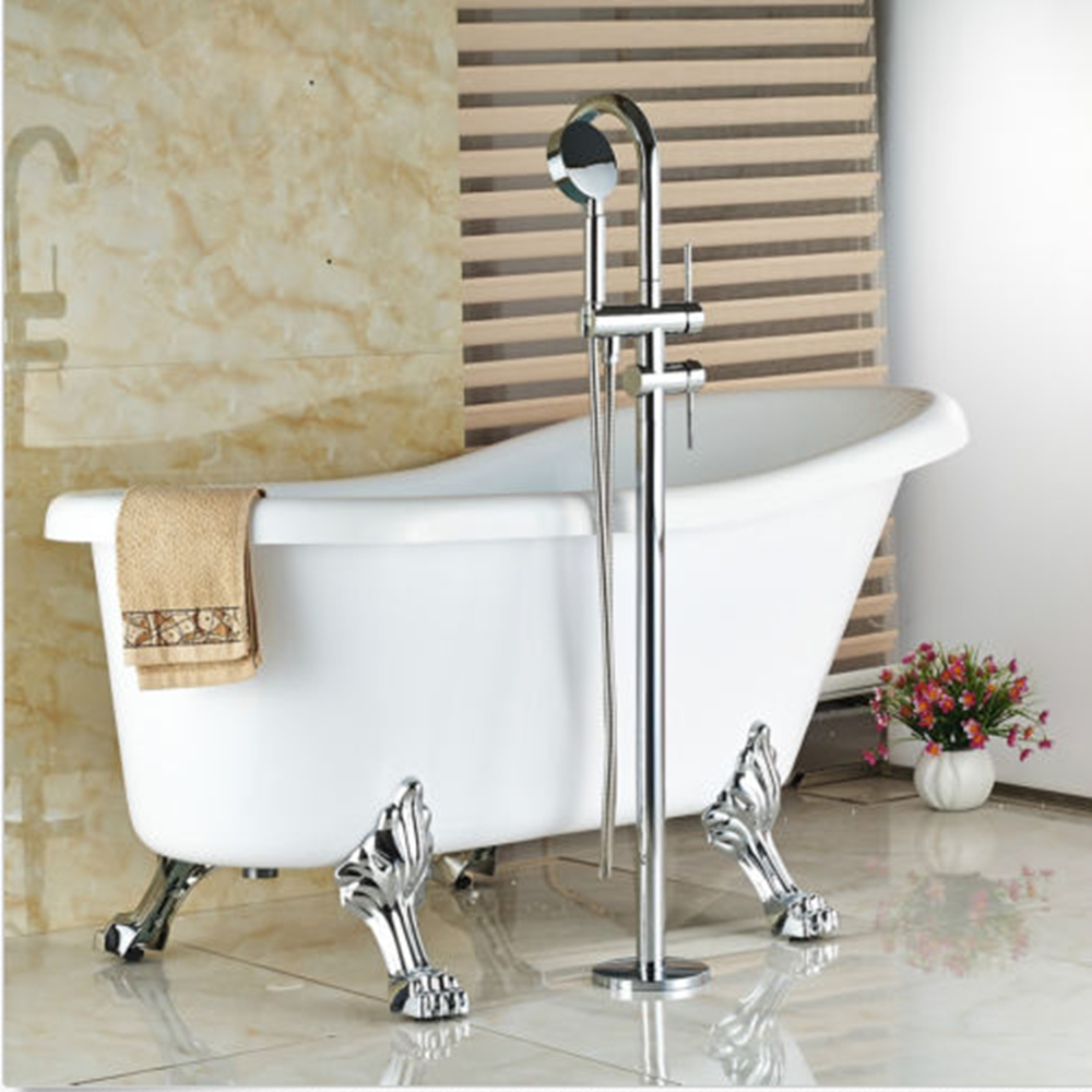 Chrome Brass Clawfoot Bathroom Tub Faucet Tub Filler W Hand Shower