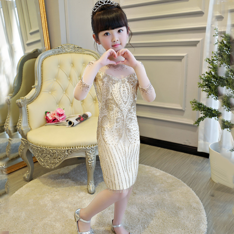 Chinese Baby girl princess costume kid pageant sequin gold shiny dress bodycon party formal mini dress modern cheongsam qipao64Y white cami bodycon mini dress