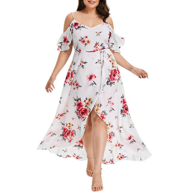 Plus Size 5XL Off Shoudler Boho Dress Ruffle Beach Flower strap Summer Dress Floral Print Tunic Maxi Long Dresses Big Size