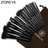 Бренд Zoreya 15 шт. черные кисти ля макияжа Набор теней для век Пудра основа кисть для грима лучшее смешивание консилер косметические инструмен...