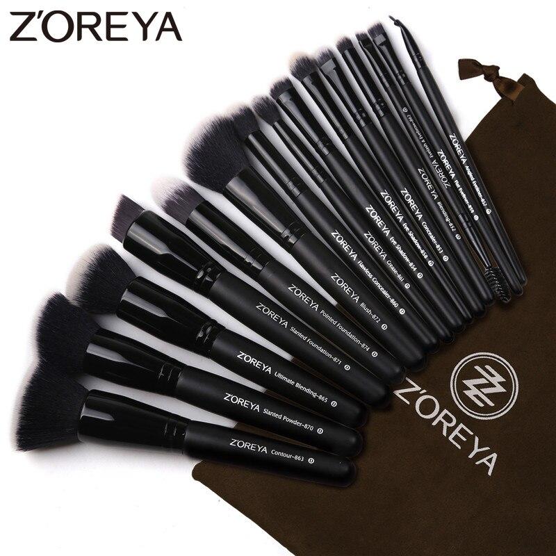 Zoreya marca 15 piezas negro pinceles maquillaje sombra de ojos cepillo de base de polvo de maquillaje mejor mezcla corrector herramientas cosméticas