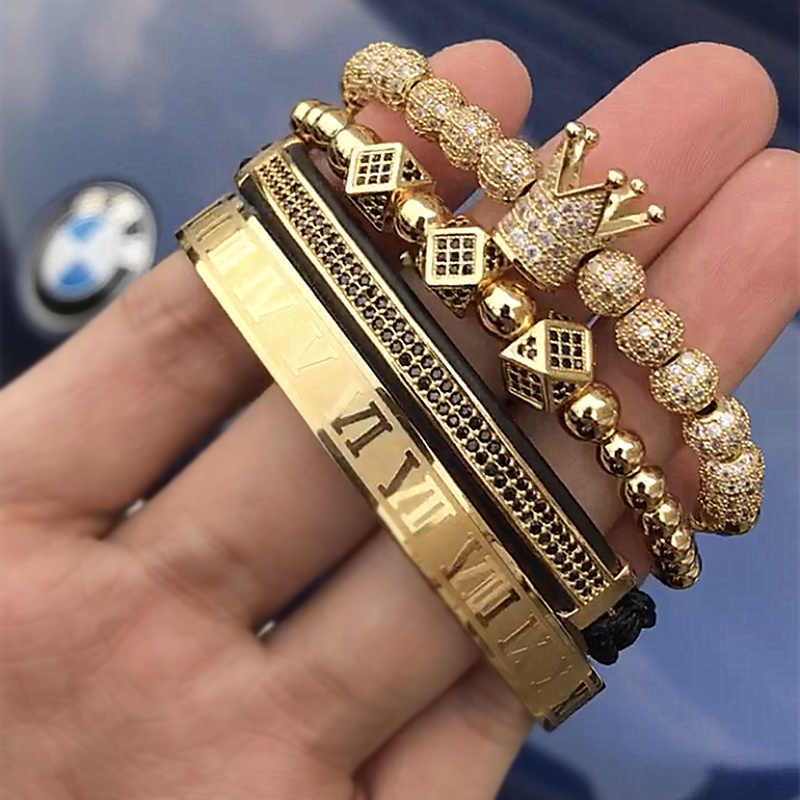 Luxury Roman Royal Crown Charm Bracelet Men Fashion 2019 New Gold Braided Adjustable Men Bracelet For Hip Hop Jewelry Gift