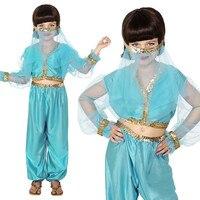 Kids Arabian Princess Costume Girls Jasmine Aladdin Genie Bellydancer Costplay Veil Harem Outfit Halloween Gift Fancy Dress